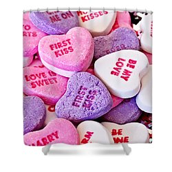 Shower Curtain featuring the photograph Valentine Candy Hearts by Vizual Studio