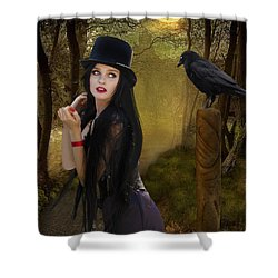 Words Of The Crow Shower Curtain by Linda Lees