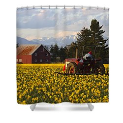 Working Gold Shower Curtain by Mike  Dawson