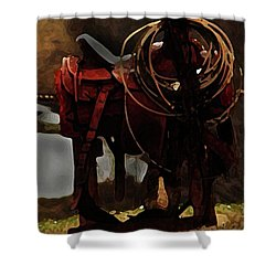 Working Man's Saddle Shower Curtain by Kim Henderson