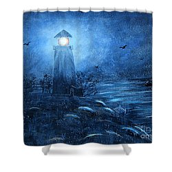 Working Night Shift In The Rain Shower Curtain by Barbara Griffin