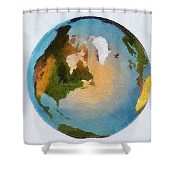 World 3d Globe Shower Curtain