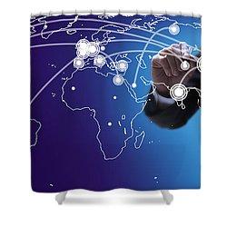 World Economies Map Shower Curtain by Atiketta Sangasaeng
