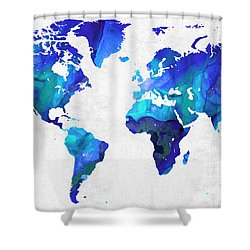 Shower Curtain featuring the painting World Map 17 - Blue Art By Sharon Cummings by Sharon Cummings