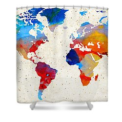 World Map 18 - Colorful Art By Sharon Cummings Shower Curtain by Sharon Cummings