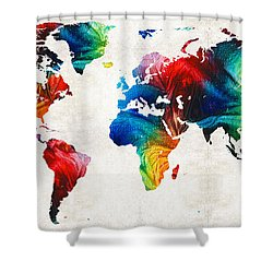 World Map 19 - Colorful Art By Sharon Cummings Shower Curtain