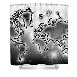 World Map Amuza In Black And White Shower Curtain by Eleven Corners