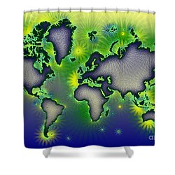 World Map Amuza In Blue Yellow And Green Shower Curtain by Eleven Corners