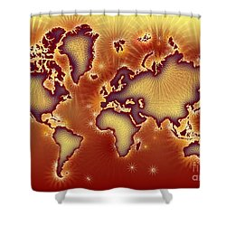 World Map Amuza In Red And Yellow Shower Curtain by Eleven Corners