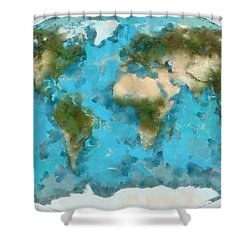 World Map Cartography Shower Curtain