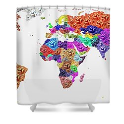 World Map - Soccer Football 2014 Shower Curtain
