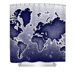 World Map Novo In Blue Shower Curtain by Eleven Corners