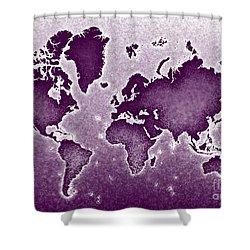 World Map Novo In Purple Shower Curtain by Eleven Corners