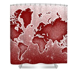World Map Novo In Red Shower Curtain by Eleven Corners