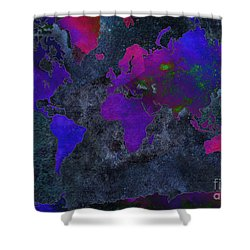 World Map - Purple Flip The Dark Night - Abstract - Digital Painting 2 Shower Curtain by Andee Design