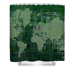 World Map Rettangoli In Green And White Shower Curtain by Eleven Corners