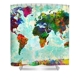 World Map Splatter Design Shower Curtain