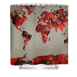 World Map - Watercolor Red-black-gray Shower Curtain