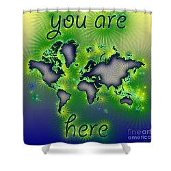 World Map You Are Here Amuza In Blue Yellow And Green Shower Curtain by Eleven Corners