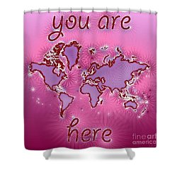 World Map You Are Here Amuza In Purple And Pink Shower Curtain by Eleven Corners