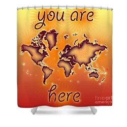 World Map You Are Here Amuza In Red Yellow And Orange Shower Curtain by Eleven Corners