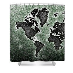 World Map You Are Here Novo In Black And Green Shower Curtain by Eleven Corners