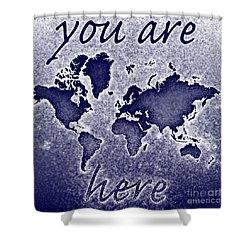World Map You Are Here Novo In Blue Shower Curtain by Eleven Corners
