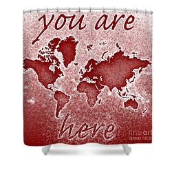 World Map You Are Here Novo In Red Shower Curtain by Eleven Corners