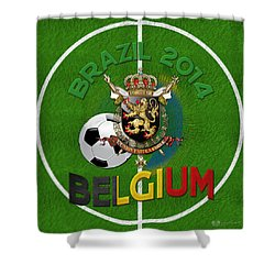 World Of Soccer 2014 - Belgium Shower Curtain by Serge Averbukh