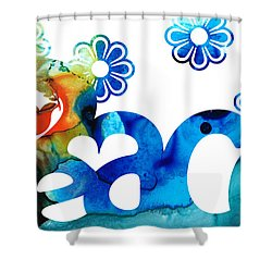 World Peace 3 - Loving Art Shower Curtain by Sharon Cummings