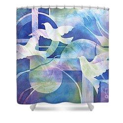 World Peace Shower Curtain by Deborah Ronglien