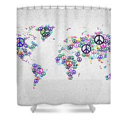 World Peace Map Shower Curtain by Aged Pixel