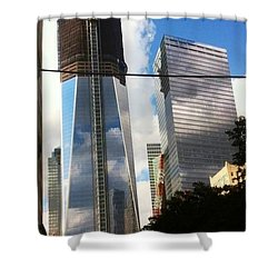 World Trade Center Twin Tower Shower Curtain by Susan Garren