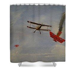 World War I Dogfight 3 Planes In Battle Shower Curtain by Carl S Kralich