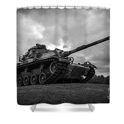 World War II Tank Black And White Shower Curtain
