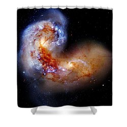 Worlds Collide Shower Curtain by Benjamin Yeager