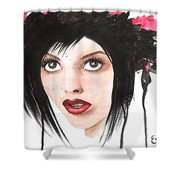 Shower Curtain featuring the painting Worlds End by Oddball Art Co by Lizzy Love