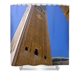 Shower Curtain featuring the photograph Worlds Tallest Minaret At 210m Hassan II Mosque Grand Mosque Sour Jdid Casablanca Morocco by Ralph A  Ledergerber-Photography