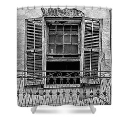 Worn Window - Bw Shower Curtain by Christopher Holmes