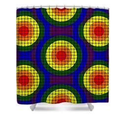 Shower Curtain featuring the digital art Woven Circles by Bartz Johnson