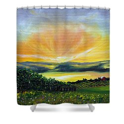 Wrapped In Light Shower Curtain by Meaghan Troup