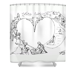 Wrapped In The Arms Of His Love Shower Curtain by Dawna Morton