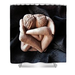 Shower Curtain featuring the sculpture Wrapped Up In Each Other by Barbara St Jean