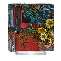 Wreath And The Red Door Shower Curtain by Michael Thomas