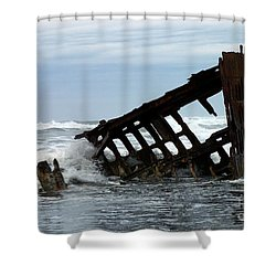 Shower Curtain featuring the photograph Wreck Of The Peter Iredale by Chalet Roome-Rigdon
