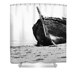 Wreckage On The Bay Shower Curtain by Marco Oliveira