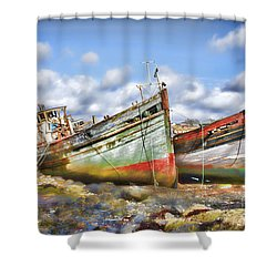 Shower Curtain featuring the photograph Wrecked Boats by Craig B