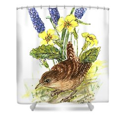 Wren In Primroses  Shower Curtain