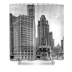 Wrigley And Tribune Shower Curtain by Scott Norris