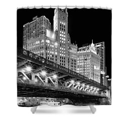 Wrigley Building At Night In Black And White Shower Curtain
